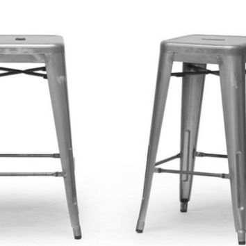 French Industrial Modern Counter Stool in Gunmetal Set of Two