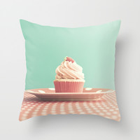 Pastel strawberry cupcake on Polka Dots Table Throw Pillow by AC Photography