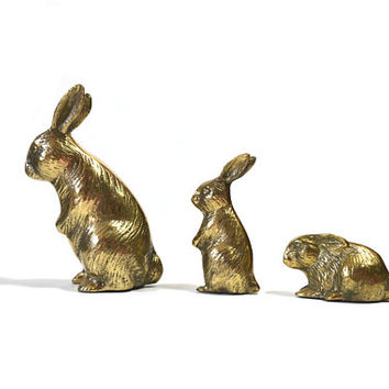Vintage Brass Rabbit Figurines Mother and Baby Rabbits Trio of Bunny Rabbits Nursery Decor Mothers Day Gift