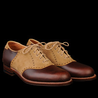 UNIONMADE - Alden - Toland Saddle Oxford in Tan Suede and Brown Chromexcel