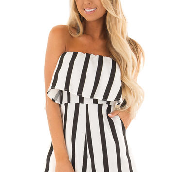 Black and White Striped Romper with Ruffle Overlay Detail