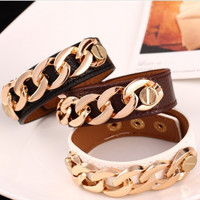 New Leather Bracelet wristband  Retro Women Punk Rock Bracelets Gold Chain Bracelet Women Jewellry Pulseiras Masculinos