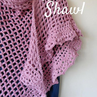 Crochet Shawl. Beautiful Handmade Purple Crochet Shawl. Lace Shawl