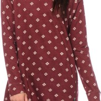 Obey Meeker Burgundy Zip Dress