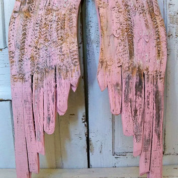 Pink shabby chic wings wood wall sculpture distressed hand carved wooden home decor Anita Spero