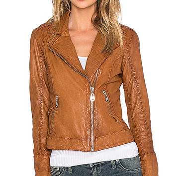 DOMA Biker Leather Jacket in Almond