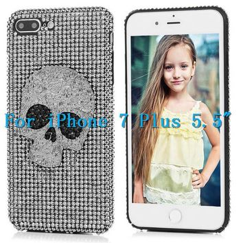 "Rivet Skull Rhinestone Glitter Case For iPhone 7 Plus 5.5"" Luxury 3D Bling Diamond Crystal Full Coverage Black Hard Back Cover - 148540, PC"