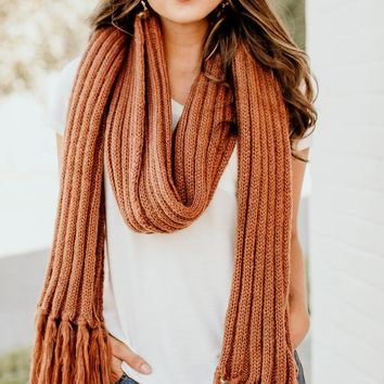 A Walk in the City Rust Long Knit Scarf