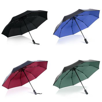 Broken Window Auto Creative 8K Windproof  Car Umbrella Rain Women Automatic 3Folding Umbrella  For Men Black Coating Parasol