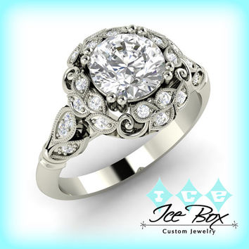 Moissanite Engagement Ring 6mm .75ct Round Forever Brilliant Cut in a 14K White Gold Floral Diamond Halo Setting
