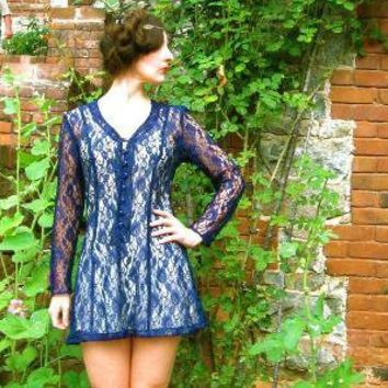 Vintage BLUE MONDAY 80s Midnight Blue Sheer Lace by AstralBoutique