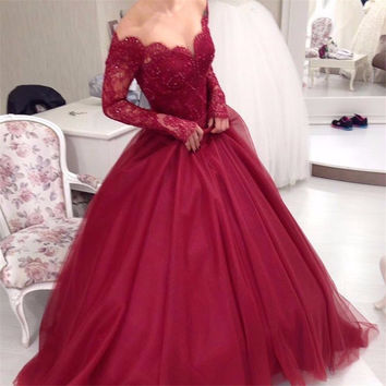 Elegant Ball Gown Lace Burgundy Prom Dresses 2017 Long Sleeve Off Shoulder V-Neck Tulle Beading Evening Dresses xq0220