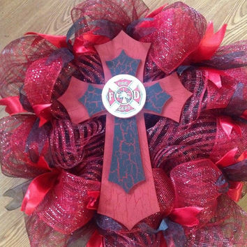 SALE20%OFF Fire Dept Deco Wreath