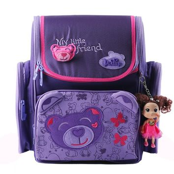 Kids cartoon backpacks Delune school bags children orthopedic school supplies school backpack for girls kids backpack girls