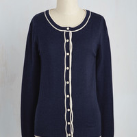 Feature of Habit Cardigan in Navy | Mod Retro Vintage Sweaters | ModCloth.com