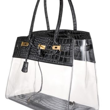 Black Leather Transparent Bag