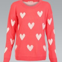 Coral Long Sleeve Knit Sweater with White Heart Print