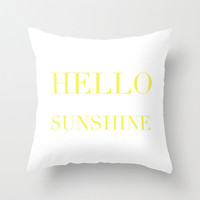 Velveteen Pillow - Hello Sunshine - Yellow Throw Pillow - Accent Pillow - Decorative Pillow - Girls Room Decor - Teen Decor - Nursery Decor