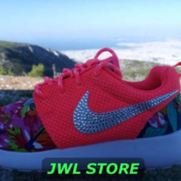 wmns custom nike roshe run shoes with fabric floral coral color sneakers blinged with