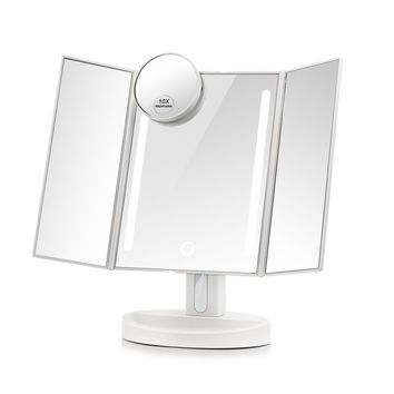 Terresa Led Lighted Makeup Mirror with 10X Magnifying Small Mirror - Touch Screen and Dual Power Supply - Adjustable Stand Desk Trifold Vanity Mirror with Lights