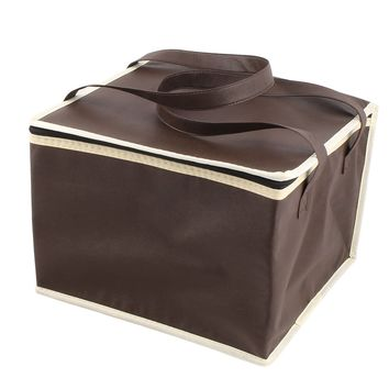 Outoor Chocolate Color Square Insulated Food Drink Fruit Warmer Cooler Carry Tote Bag