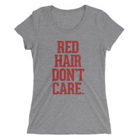 Red Hair Don't Care Tri Blend Grey T-shirt