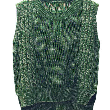 Green Cable Detail Sleeveless Dipped Hem Knit Vest