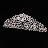 Wedding Bridal Bridesmaid Flower Girls white plated crystal tiara crown / headband