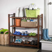 Outdoor Shoe Rack With Four Open Shelves Sturdy Entryway Furniture Brown Finish