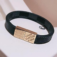 LV Louis Vuitton Newest Popular Women Men Stainless Steel Cowhide Hand Catenary Magnet Clasp Bracelet Accessories Jewelry