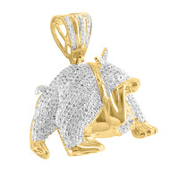 Bulldog Pendant 14k Gold Finish Animal Lab Diamond