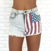 Stars & Stripes High Waisted Denim Shorts