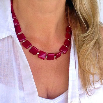 Ruby jade necklace, red necklace, pink, gemstone, square bead necklace, statement necklace, 1 strand