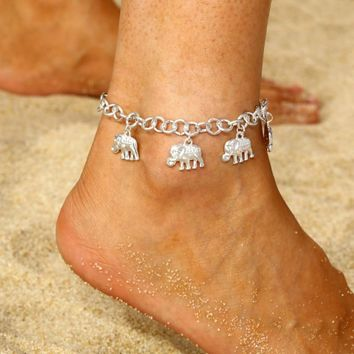 Vintage Silver Elephant Anklets Bracelet For Women Boho Pendent Anklet Bohemian Foot Jewelry Gift Drop shipping Summer Jewelry