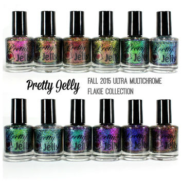 Ultra Multichrome Flakie Nail Polish 15ml Collection, Color Shifting Nail Lacquer, Flake Glitter Top Coat, Custom Handmade Indie Nail Polish