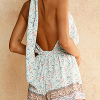 Polychrome High Neck Floral Print Open Back Romper Playsuit