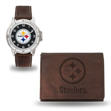 STEELERS BROWN WATCH AND WALLET