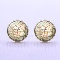 Cuff  links,Map cufflinks,USA city map cufflinks,Vintage Las Veans   City Map cufflinks,Weeding gift,personnality gift,Photo cufflinks