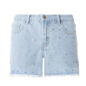 Light Wash Denim Gem Shorts | Dorothyperkins