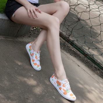"""Keds"" Orange Tangerine Fruit Print Low Help Shoes Canvas Shoes Flats Shoes Women Shoes"