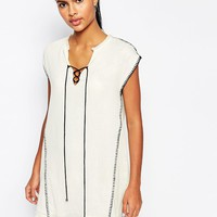 Moon River Tunic Dress with Blanket Stitching