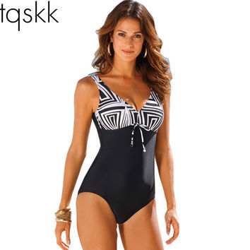 TQSKK One Piece Swimsuit Women Vintage Bathing Suits Plus Size Swimwear Beach Padded Print Polka Black Suit 4XL