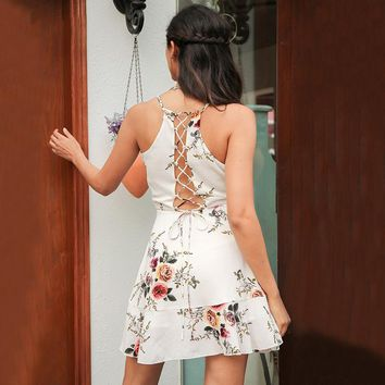 8DESS A-line ruffles floral print dress women Deep v neck backless bandage sexy dress Casual party short dress