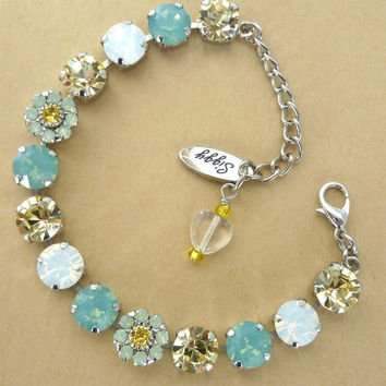 "Swarovski crystal tennis bracelet, 8mm ""Limonada"" summer bling, Siggy design, GREAT PRICE"
