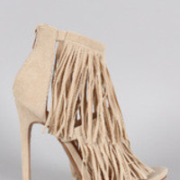 Women's Shoe Republic LA Suede Fringe Open Toe Heel