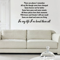 In My Life Ive Loved Them All The Beatles Quote Design Sports Decal Sticker Wall Vinyl