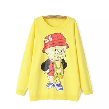 Yellow Pig Print Sweater