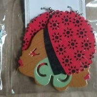 Ethnic Beauty BIG Afro Hair Africa  Woman Natural Wooden Earring  gift RED lady