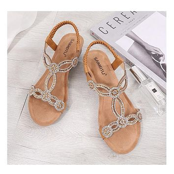 Hot Selling Fashion Water Drill Focusing on Large Size Foreign Trade Women's Shoes Camel