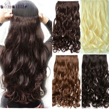 S-noilite 28 inches Curly Long Synthetic 3/4Full head Clip in Hair Extensions Black Brown Blonde Auburn Hair Extension One Piece